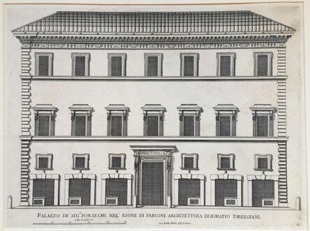 Giovanni Battista Falda, 'Palazzo de Sig Fonsechi nel Rione di Architettura di Horatio Torregiani.  Plate 60 from Palazzi di Roma de Piu Celebri Architetti, vol II', 1655