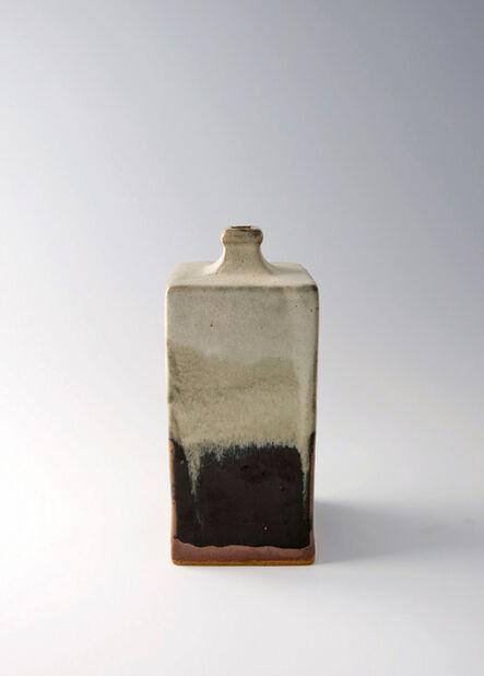 Shōji Hamada, 'Rectangular bottle, black and nuka glaze'