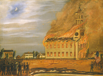 John Hilling, 'Burning of Old South Church, Bath, Maine', ca. 1854