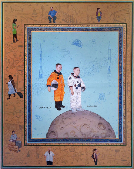 Sandow Birk, 'The Material Realm: The Heavens (Yuri Gagarin and Neil Armstrong)', 2014