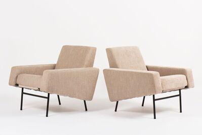 Pierre Guariche, 'Pair of G10 beige velvet armchairs ', 1950's