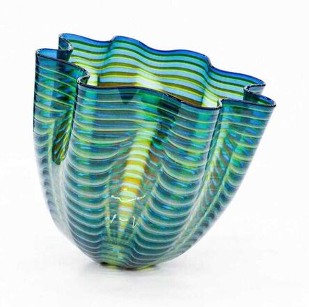 Dale Chihuly, 'Dale Chihuly Signed Teal Blue Seaform Persian Basket Original Hand Blown Glass Sculpture', 1997