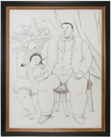 Fernando Botero, 'Man with little girl and cat', 2013
