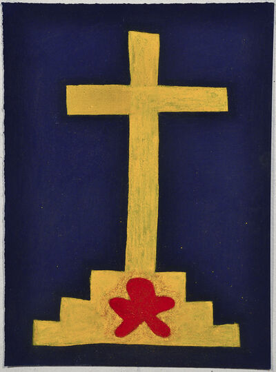 Julian Martin, 'Untitled (Abstracted Yellow Cross on Blue)', 2010