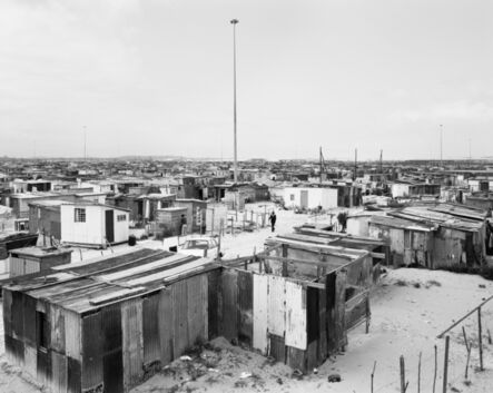 David Goldblatt, 'Flushing Meadows and lightning masts, Site B, Khayelitsha, Cape Town, 11 October 1987', 1987