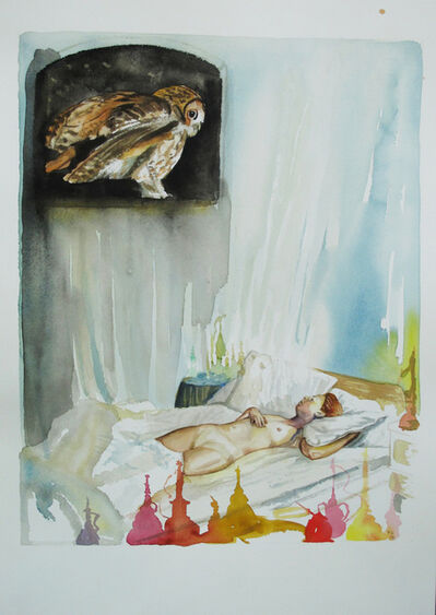 Troels Carlsen, 'Sleeping Nude and Owl #1', 2015