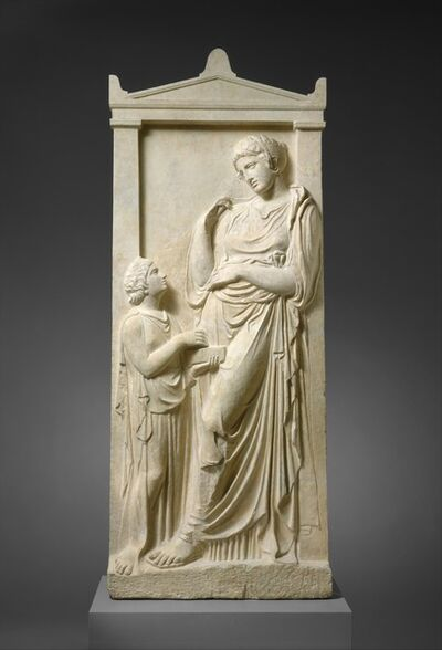 Unknown Greek, 'Marble grave stele of a young woman and servant', ca. 400–390 B.C.