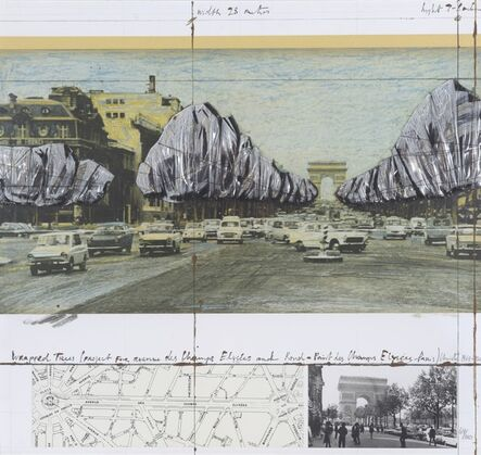 Christo, 'Wrapped Trees. Project for the Arc de Triomphe and the Rond-Point des Champs-Elysées', 1990