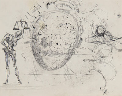 Salvador Dalí, 'Étude pour les tableaux : Galatée en formation et Vitesse maximale de la vierge de Raphaël', ca. 1954