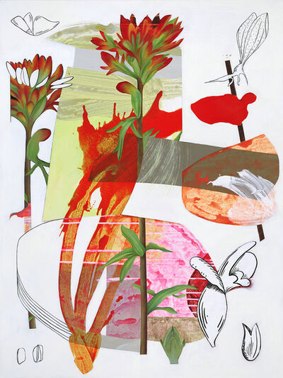Fiona Ackerman, 'Scarlet Cup - Layered botanicals & shapes in red, pink and orange', 2019