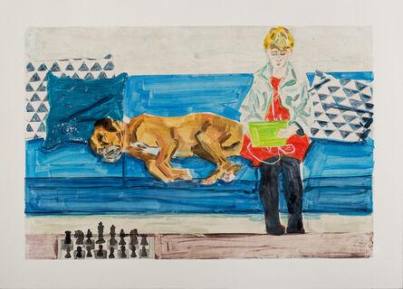 Stella Ebner, 'Teenager with Dog and Chess Set (Eliot & Jack)', 2018