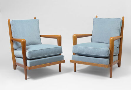 "Jean Royère, 'pair of ""ondulation"" armchairs', ca. 1955"
