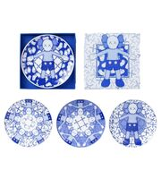 KAWS, 'KAWS: HOLIDAY ceramic plate set (blue/white) (set of 4), 2019', 2019