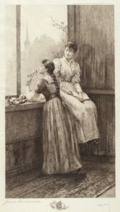 Jennie Augusta Brownscombe, 'Untitled (Two Girls at a Window)', 1890s