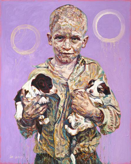 Hung Liu 刘虹, 'Migrant Child: Puppies', 2017