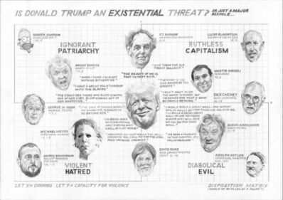 William Powhida, 'Is Donald Trump an Existential Threat? Or Just A Major Asshole…', 2016