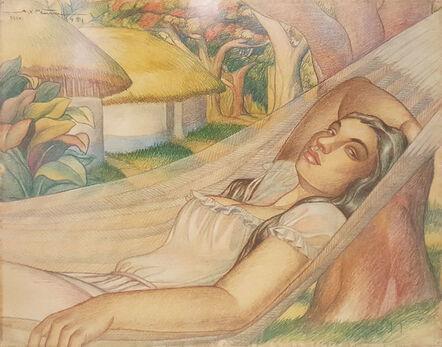 Alfonso X. Peña, 'Dama en Hamaca', 1951