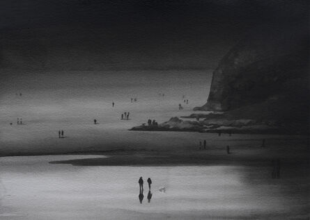 Radenko Milak, 'Dog walkers on Perranporth beach', 2020