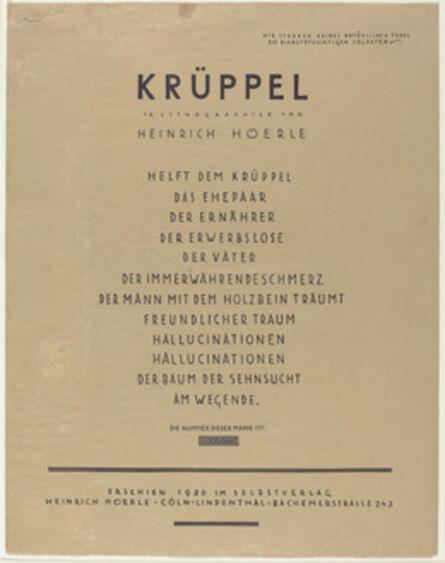 Heinrich Hoerle, 'Krüppel (Cripples)', 1920