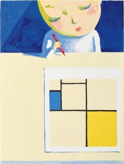 Liu Ye 刘野, 'Girl with Mondrian (Signed and Framed)', 2001