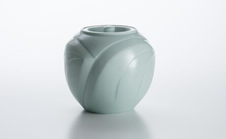 Peter Mark Hamann, 'Sculpted Celadon Porcelain Cold Water Container with Wave Pattern', 2008