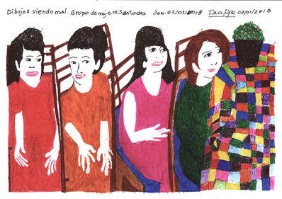 Teresa Burga, 'Dibujos viendo mal - Grupo de mujeres sentadas - Dom. 07/01/2018', 2018