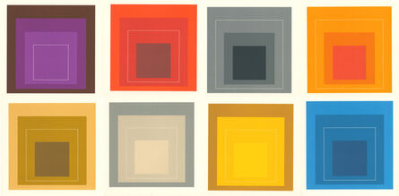 Josef Albers, 'Josef Albers White Line Squares (set of 8 announcements)', 1967