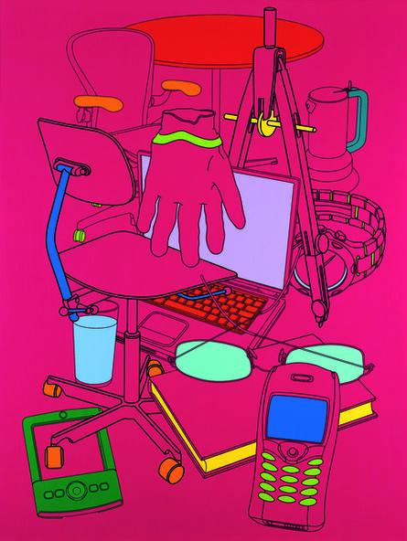 Michael Craig-Martin, 'Biding time (magenta)', 2004