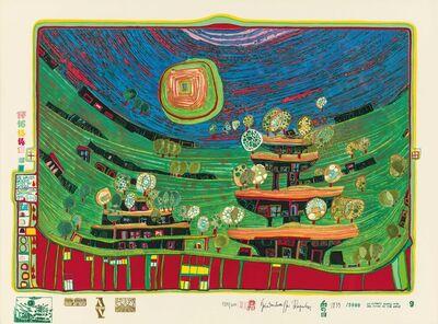 Friedensreich Hundertwasser, 'Die Häuser hängen unter den Wiesen', 1971