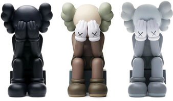 KAWS, 'Passing Through Open Edition Vinyl Figure Set of 3 (black/brown/grey)', 2018