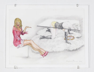 "Margaret Harrison, 'Allen Jones & The P.T.A. (Dolly Parton/Allen Jones ""Table Sculpture"")', 2010"