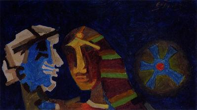 M. F. Husain, 'Untitled (Heads - Blue) ', 1970