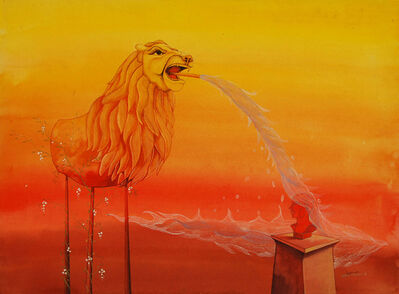 Pratul Dash, 'Angry lion, figurative, Mixed Media in red, yellow, white color by Indian Artist Pratul Dash', 2008
