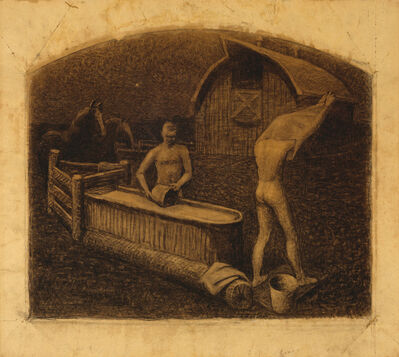 Grant Wood, 'Saturday Night Bath', 1937