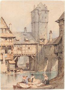 Samuel Prout, 'Laundresses before the Wasserturm, Nuremberg'
