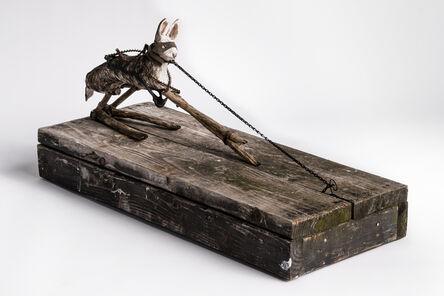 Elizabeth Jordan, 'Sculpture of hare on wood base with mask on: 'Children 11'', 2020