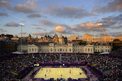 Donald Miralle, 'Men's Beach Volleyball match between Brazil and Canada, London Olympics, The Horse Guards Parade ground, London', 2012