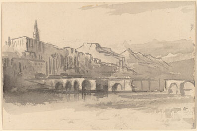 Edward Lear, 'Bridge with Mountains in the Distance (Ventimiglia)', 1884/1885
