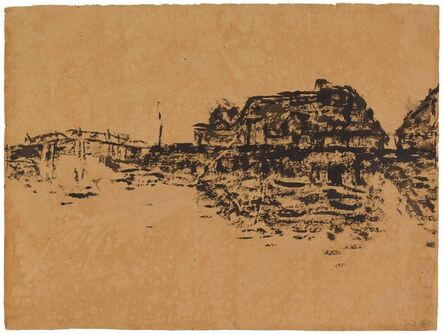 "Emil Nolde, '""Bauernhåuser Am See Und Brücke (Ruttebüll)"" (Farmhouses at the Lake and Bridge-Ruttebüll).', 1909"