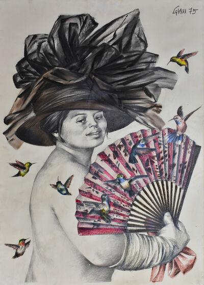 Enrique Grau, 'Mujer con abanico y pájaros', 1975