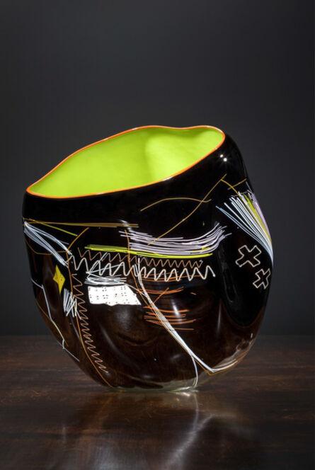 Dale Chihuly, 'Black Olive Soft Cylinder with Orange Lip Wrap', 2013