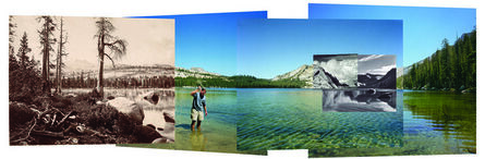 Mark Klett, 'Four Views from four times and one shoreline, Lake Tenaya, 2002. Left to Right: Eadweard Muybridge, 1872, Ansel Adams, 1942, Edward Weston, 1937. Back panels: Swatting high-country mosquitoes, 2002', 2002