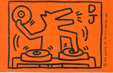 Keith Haring, 'Keith Haring DJ Dog announcement 1991 (DJ Clark Kent, Keith Haring Foundation)', 1991
