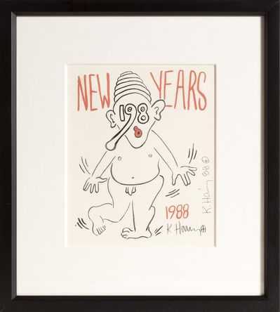 Keith Haring, 'New Year's Invitation '88 (Nude)', 1988