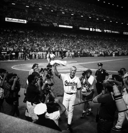David Burnett, 'Cal Ripken Acknowledges the Fans After a Run Around Camden Yards Park, the Night He Broke Lou Gehrig's Consecutive Record of 2131 Games', 1995