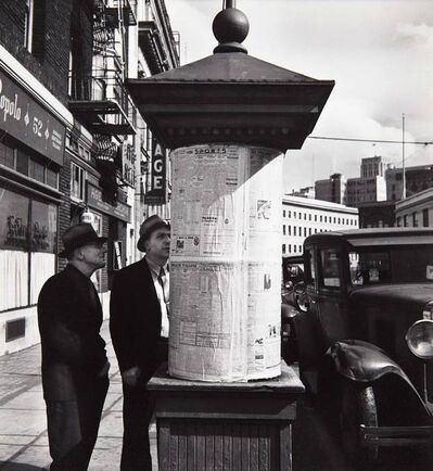 """John Gutmann, 'News from Italy Posted at """"La Voce Del Populo,"""" San Francisco', 1934"""