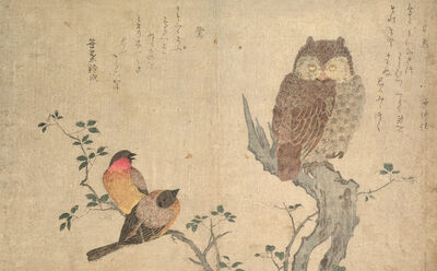 Kitagawa Utamaro, 'Bullfinch and Scops Owl', ca. 1790