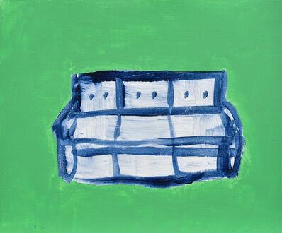 Hélène Cenedese, 'Blue Sofa in green room'