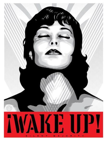 Shepard Fairey, 'Wake Up! (white)', 2017