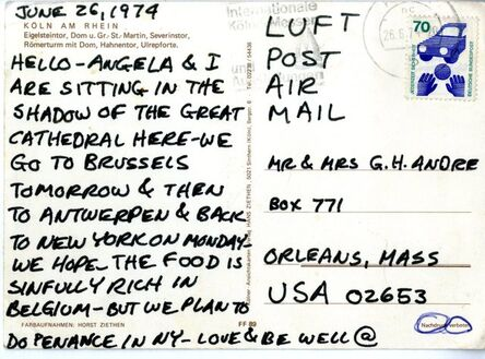 Carl Andre, 'Handwritten Letter to the Artist's Parents', 1974